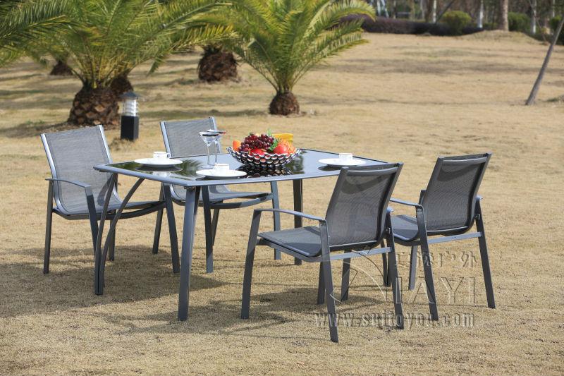 5 pieces aluminum and mesh fabric patio furniture garden