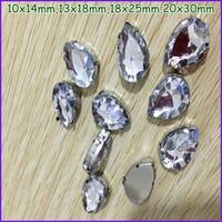 50pcs Teardrop Acrylic Fancy Stone In Claw Setting Sewing Beads Crystal Clear 10x14mm,13x18mm,18x25mm,20x30mm
