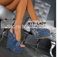 New 2014 Women Wedge Sandals Brand High Heels Denim Pumps Blue Jean High Platform Rhinestone Sandals Women Shoes