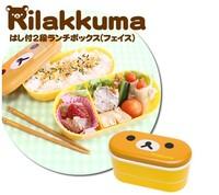 Free shipping 2014 Hot Sale Rilakkuma Bento with Chopsticks Cartoon Double Layer Lunch Box Relax Bear Picnic box