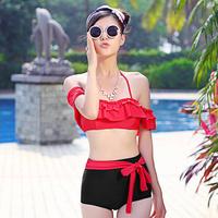 New 2014 Off Shoulder Push Up Swimsuit Vintage High Waisted Swimwear Ruffle Red Bikini Set Women Cheap Cute Bathing Suits M L XL