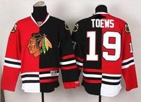NEW Chicago Blackhawks #19 Jonathan Toews Red-Black Split Red Skull Stitched NHL Jerseys