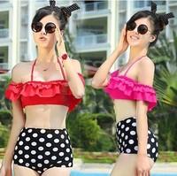 New 2014 Off Shoulder Push Up Swimsuit  Polka Dot Vintage High Waist Sexy Bikini Set Swimwear Woman Bathing Suit S M L