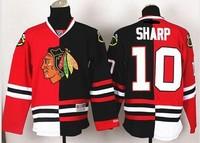NEW Chicago Blackhawks #10 Patrick Sharp Red-Black Split Red Skull Stitched NHL Jerseys