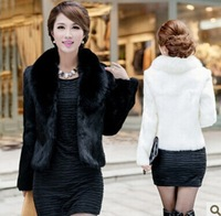 2014 new Ms. Autumn /winter Short fur coat grass imitation fox fur collar Fashion women fur coat black and White free shipping