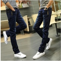 Free shipping  Spring and summer new arrival skinny jeans male 100% cotton blue denim slim casual long trousers