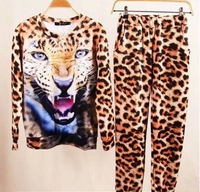 Plus Size 2014 Autumn Winter Set Animal Leopard Tiger 3D Print Sport Sweater Hoodie Suit Sportswear for Women Sweatshirt WH-094