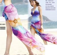 2014 Wholesale Women'S Elastic Ice Silk Material Beachwear Beach Dress, Bikini Blouse Outside