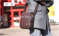 medium  size  men's cowskin single-shoulder bag , black / brown business men  messenger bag