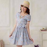 Free Shipping Uncommon women sky blue dress summer 2014 New