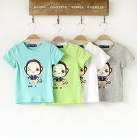2014 New Fashion Boy Kids T shirt 100% Cotton Print Monkey Pattern O-neck Short Sleeve Summer Boy T-shirt Kids Casual Tees