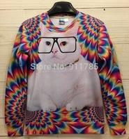 2014 fashion novelty Egyptian Pharaoh Leopard pullover 3D Duplex printed sweatshirt men,3D Animal pullover jacket for men,S-XL
