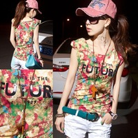 2014 new women clothes tide girlfriends with printing Slim stylish casual short-sleeve T-shirt shoulder pads