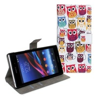 2014 New Cute Cartoon Owl Case for Xperia Z1 L39h Wallet Stand Cases for song l39h  covers skin with Card Holder Free shipping