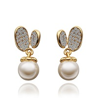 18K Earrings - E444 / 18K Gold Plated Trendy White Pearl Stud Earrings For women,  High quality, Free shipping