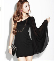 Fashion oblique strapless chiffon sleeve slim one-piece dress