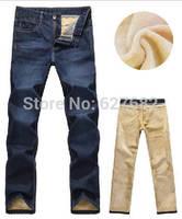 2014 Fashion Designer Brand Men's Denim Pants Trousers,Autumn Winter With Wool Warm True New Jeans Original Skinny Jogging 28-40