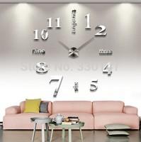 2015 Mural Adesivo De Parede free Shipping Wholesale Oversize Digital & English Letter Mirror Wall Clock Diy Sticker Best Gift