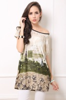 2014 Summer Boho Dress Short Sleeve Plus Size Women Loose Novelty Print Dresses Casual Desigual Vestidos Party Dresses