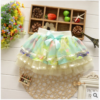 Free shipping 2014 summer Baby girls short skrit baby clothing childrens 3Colors Korean Floral lace veil cloth children