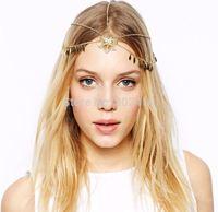 Free shipping! 2014 New fashion bohemian hollow out flower headband metallic hair chain hair accessories