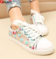 2014 female cutout  breathable network flatbottomed casual canvas shoes