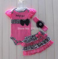 RETAIL Hot sale 2014 Girls summer sets Baby 3 Piece Suits Romper/Tutu Skirt/ Headband infant Girl fashion clothing sets