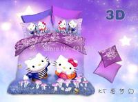 hello kitty bedding set luxury gift 100% cotton comforter quilt duvet cover sheet  cartoon kid bedclothes 18