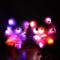 2014 New Baby Toy doll 18cm 7'' Flashing toys Glow in the Dark Plush toys Hellokitty Plush toys PP Cotton Strange ideas