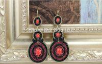 Fashion Black Earrings + Seed Beads Earrings  + Free Shipping