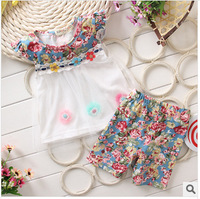 Baby Girl Casual Wear 2pcs New 2014 Summer  baby girls clothing children kids cotton dress 1-3T age  girls suit  Free shipping