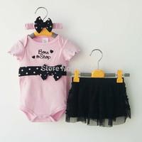 RETAIL New 2014 Girls Summer clothing sets Baby Fashion 3 Piece suits Pink Romper/Tutu Skirt /Headband Newborn clothes