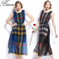 Plaid Long Dress  2014 Summer vestido de festa longo Women Silk Party Dress Long Gown Slim Bohemian Dress