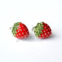 925 Silver Earrings Fashion Jewelry Free Shipping Strawberry Stud Earrings Silver Jewelry MYE002