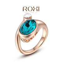 ROXI Christmas Gift Classic Genuine blue Austrian Crystals Sample Sales Rose Gold Plated Ring Jewelry Party OFF,2010222350