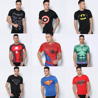 Free shipping 2014 t-shirt Superman/Batman/spider-man/captain America /Hulk/kiss band / t shirt men fitness clothing men t shirt