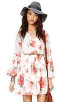 HIGH QUALITY!  long sleeve print flower chiffon women's dress girl fashion dress XS-XXL, 141516174