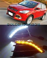 Free shipping,2x LED DRL Daytime Running Light with turn signal For Ford Kuga/Escape 2013-2014