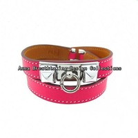 New Fashion Designer Double Tour Collier Leather Bracelet,In Fresh Pink Leather With Silver Plated Rivet.Women Favorite Bracelet