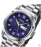 Steel male table calendar watch waterproof luminous week business belt quartz watch free shipping