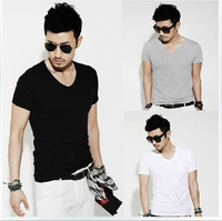 Free shipping  The new summer 2014 men's pure white v-neck man short sleeve T-shirt render unlined upper garment