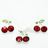 925 Silver Sets Fashion Jewelry Sets Cherry Pendant Necklace Cherry Drop Earrings Silver Jewelry MYS003