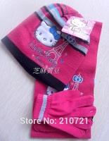 Retail one set 2-7Yesrs Baby girls Pink stripe hello kitty lovely scarf + hat+Glove 3pcs set scarves Free Shipping