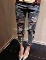 2014 hot sale Eourpean style Destroyed Hole boyfriend loose women blue denim jeans for woman harem Capris pant