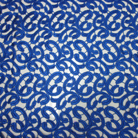 abstract cobalt blue lace fabric guipure embroidery for ladies' wear