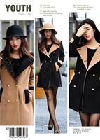 2014 autumn Hot Korean Fashion Womens Slim Double-Breasted Winter Wool Blends Frock Coat Warmly Coffee Black Windproof Jacket