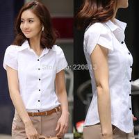 Hot Summer Fashion Women's Clothing Professional Women Short-Sleeved Cotton Shirt Slim Lapel Sheer Shirt