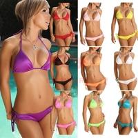 Multi colors cheap 2014 two piece female sexy hot strappy bikinis set swimwear, thong triangle neon swimsuit beachwear biquini