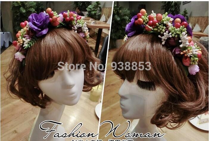 Handmade aesthetic fashion fresh purple flowers and fruit hair studio photograph holiday hair ornaments hair- Free shipping(China (Mainland))