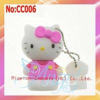 2014 Hot sale plastic Hello Kitty USB Flash Memory Drive Stick Flash PenDrive 8GB Pen Drive stock 100% new Free shipping  #CC006